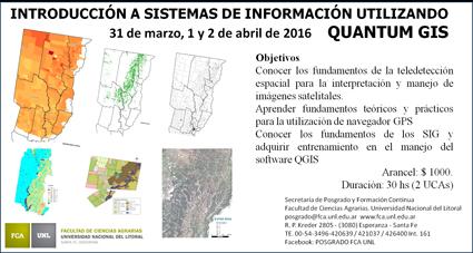 "Cartel del taller "" Introducción a Sistemas de Información utilizando Quantum GIS"""